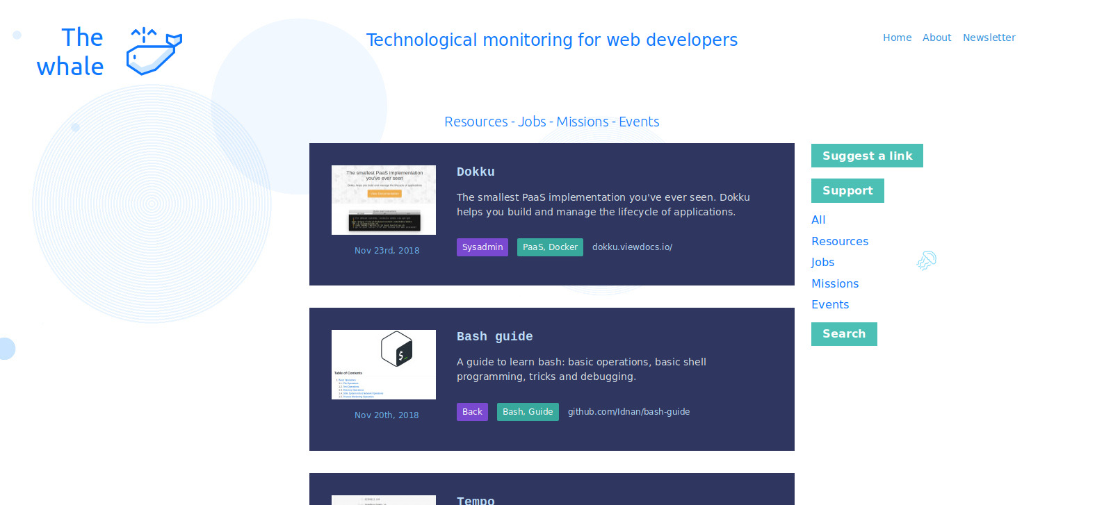 The whale | Find resources for web developer like tools